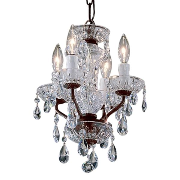 Classic Lighting Daniele Collection 11-in x 15-in English Bronze Crystalique 4-Light Upgrade Mini Chandelier