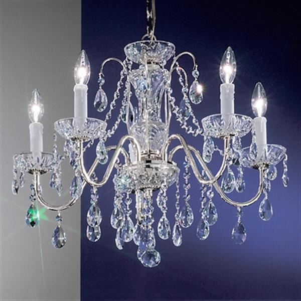 Classic Lighting Daniele Collection 22-in x 19-in Chrome Crystalique 5-Light Upgrade Chandelier