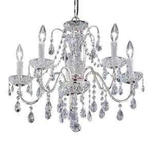 Classic Lighting Daniele Collection 22-in x 19-in Chrome Swarovski Strass 5-Light Upgrade Chandelier