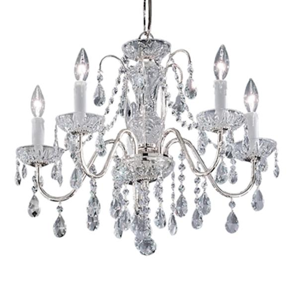 Classic Lighting Daniele Collection 22-in x 19-in Chrome Swarovski Spectra 5-Light Upgrade Chandelier