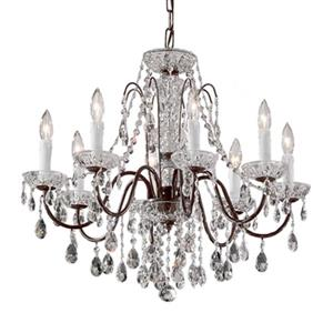 Classic Lighting Daniele Collection 25-in x 22-in English Bronze Crystalique 8-Light Upgrade Chandelier
