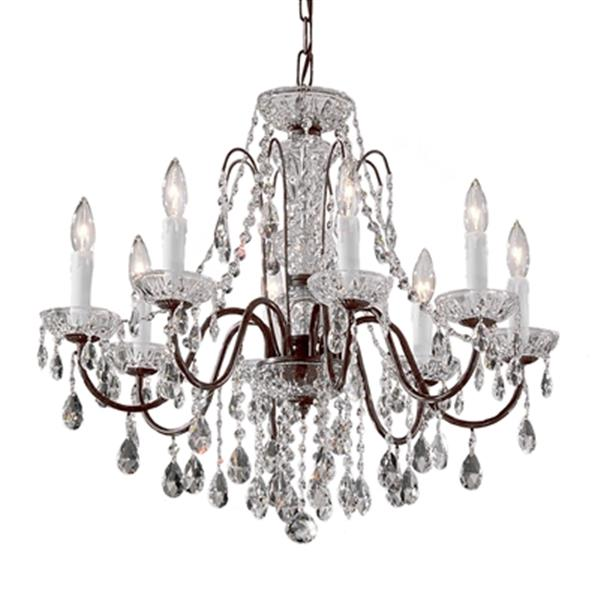 Classic Lighting Daniele Collection 25-in x 22-in English Bronze Swarovski Strass 8-Light Upgrade Chandelier