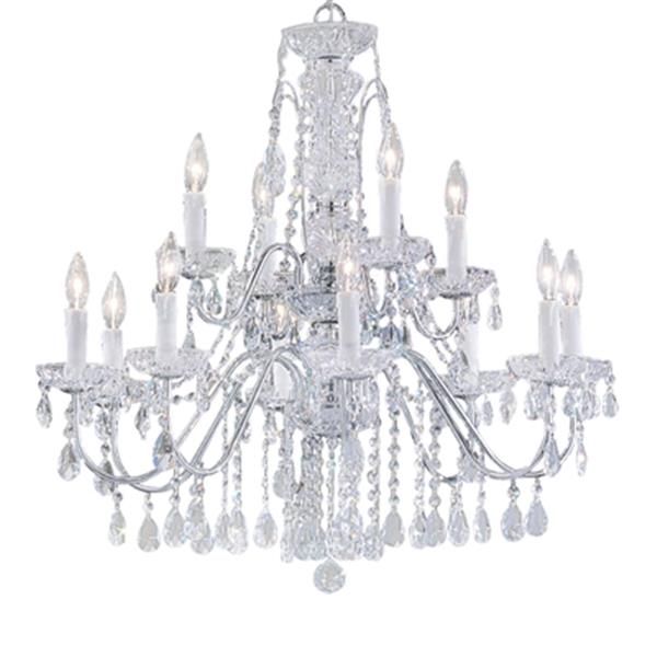 Classic Lighting Daniele Collection 29-in x 29-in English Bronze Crystalique 12-Light Upgrade Chandelier