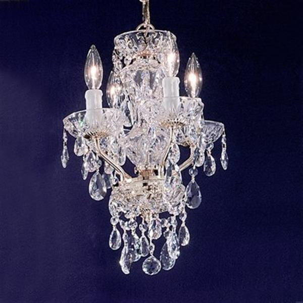 Classic Lighting Daniele Collection 11-in x 16-in Chrome Crystalique 4-Light Premium Mini Chandelier