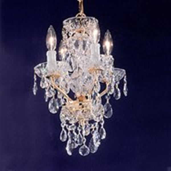 Classic Lighting Daniele Collection 11-in x 16-in Gold Plated Crystalique 4-Light Premium Mini Chandelier