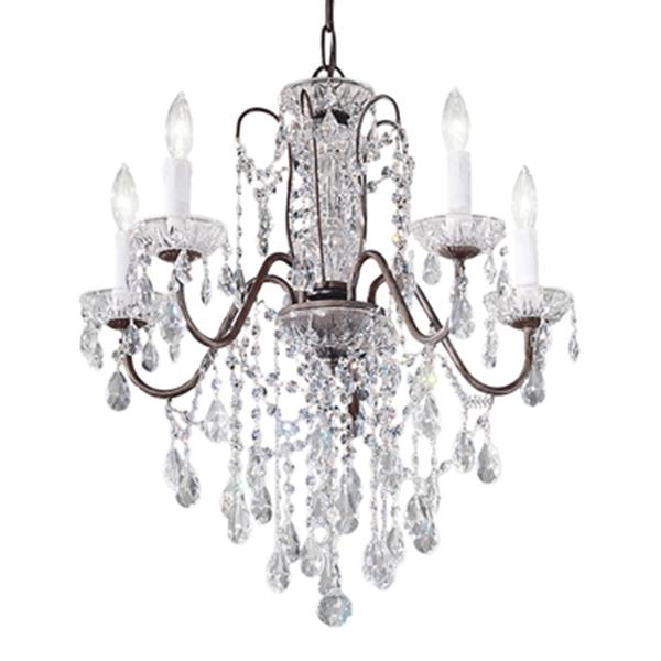 Classic Lighting Daniele Collection 22-in x 23-in English Bronze Crystalique 5-Light Premium Chandelier