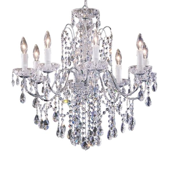 Classic Lighting Daniele Collection 25-in x 25-in Chrome Crystalique 8-Light Premium Chandelier