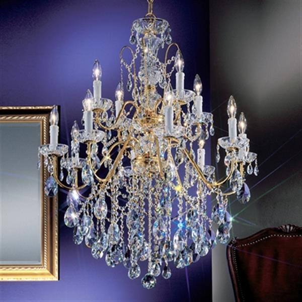 Classic Lighting Daniele Collection 29-in x 36-in Gold Plated Crystalique 12-Light Premium Chandelier