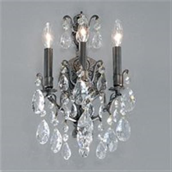 Classic Lighting Versailles Antique Bronze Swarovski Spectra 3-Light Transitional Wall Sconce