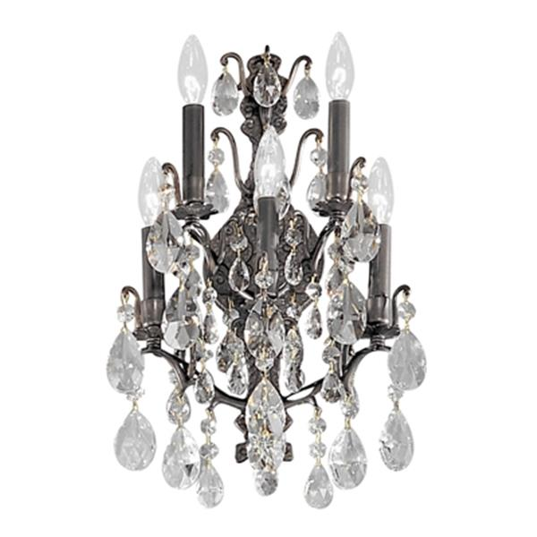 Classic Lighting Versailles Antique Bronze Swarovski Spectra 5-Light Transitional Wall Sconce