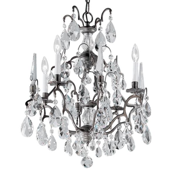 Classic Lighting Versailles Collection 20-in x 24-in Antique Bronze Swarovski Spectra 7-Light Chandelier