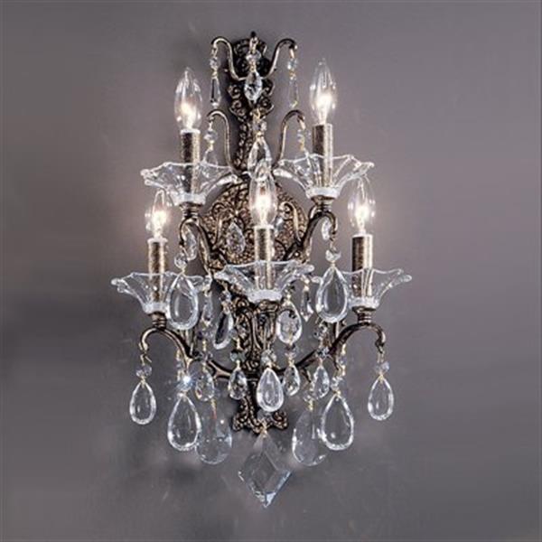Classic Lighting 5 Light Garden Versailles Antique Bronze with Drops Pink Wall Sconce