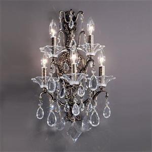 Classic Lighting 5 Light Garden Versailles Chrome Grapes Straw Wall Sconce