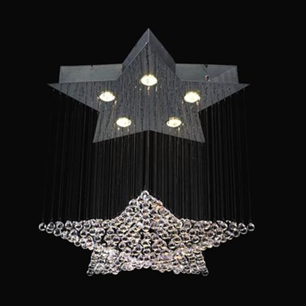 Classic Lighting Andromeda Collection 24-in x 26-in Chrome Crystalique-Plus 5-Light Star Chandelier