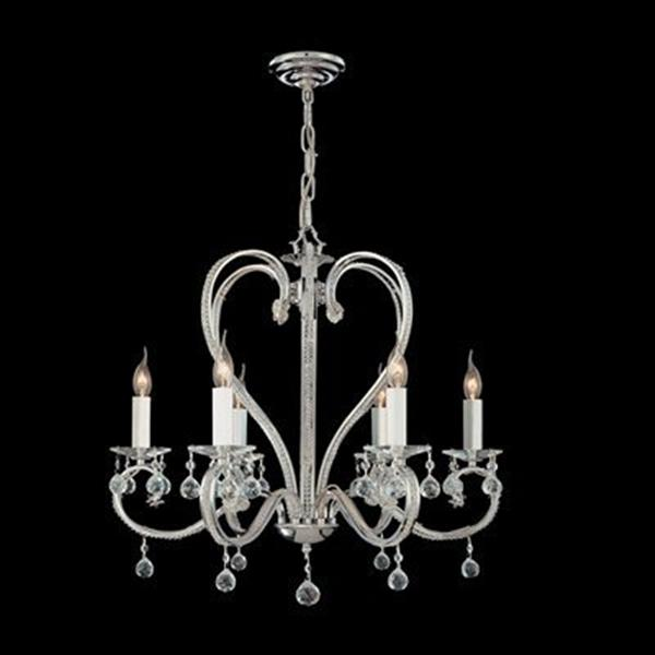 Classic Lighting Kennsington Collection 26-in x 25-in Chrome Crystalique-Plus 6-Light Chandelier