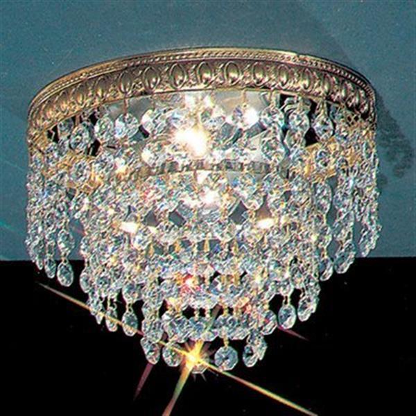 Classic Lighting Olde World Bronze Crystal Baskets Flush Mount Ceiling Light