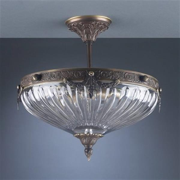Classic Lighting Warsaw 3-Light Roman Bronze Semi Flush Ceiling Light