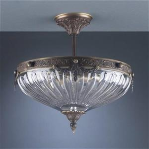 Classic Lighting Warsaw 3-Light Roman Bronze Semi Flush Ceiling Light