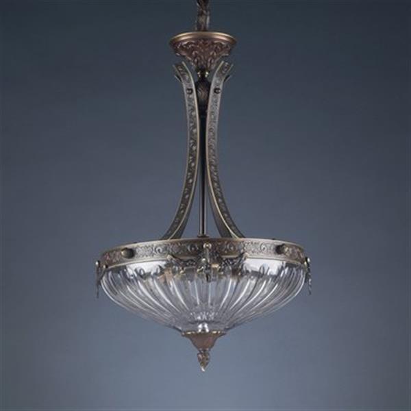 Classic Lighting 3-Light Warsaw Roman Bronze Large Bowl Pendant Light