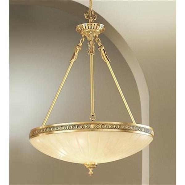 Classic Lighting 3-Light Devon Satin Bronze/Brown Patina Large Bowl Pendant Light