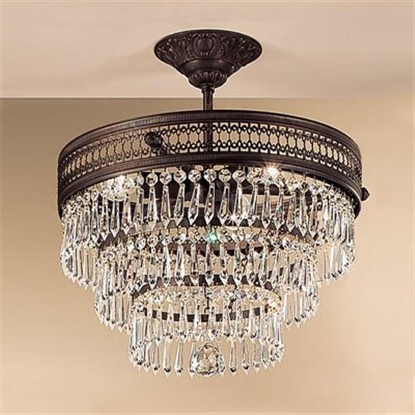 Classic Lighting Renaissance 3-Light Matte Bronze Semi Flush Ceiling Light