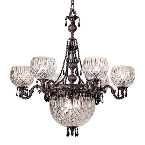 Classic Lighting Waterbury Collection 32-in x 34-in Oxidized Bronze Crystalique Black 9-Light Chandelier