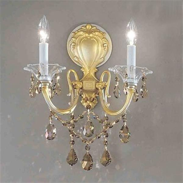 Classic Lighting  2 Light Via Veneto Champagne Pearl Strass Golden Wall Sconce
