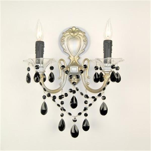 Classic Lighting  2 Light Via Veneto Ebony Pearl Crystalique Black Wall Sconce