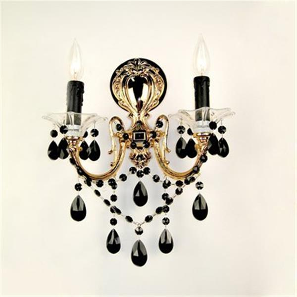 Classic Lighting  2 Light Via Veneto 24K Gold Plate Crystalique Black Wall Sconce