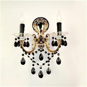 Classic Lighting  2 Light Via Veneto 24K Gold Plate Crystalique Black Wall Sconce