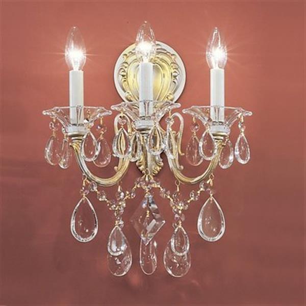 Classic Lighting 3 Light Via Veneto Champagne Pearl Swarovski Spectra Wall Sconce