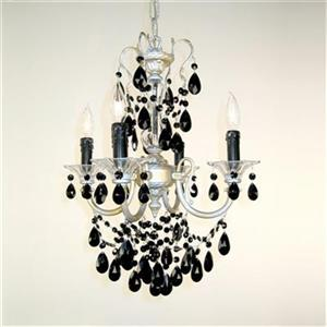Classic Lighting Via Veneto Collection 17-in x 25-in Champagne Pearl Crystalique Black 4-Light Mini Chandelier