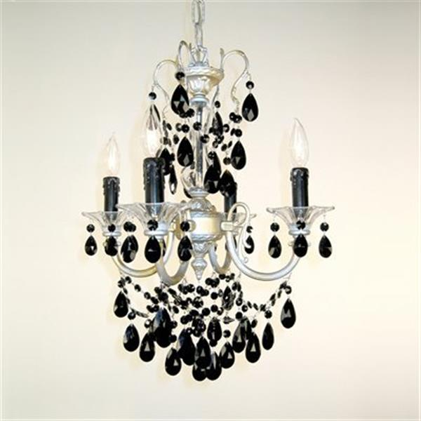 Classic Lighting Via Veneto Collection 17-in x 25-in Ebony Pearl Crystalique 4-Light Mini Chandelier