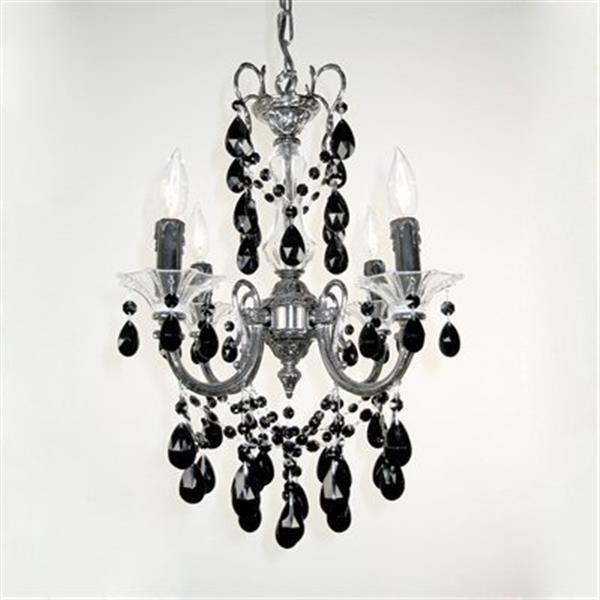 Classic Lighting Via Veneto Collection 17-in x 25-in Ebony Pearl Crystalique Black 4-Light Mini Chandelier