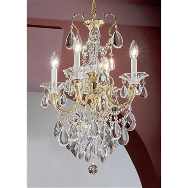 Classic Lighting Via Veneto Collection 17-in x 25-in 24k Gold Plate Crystalique 4-Light Mini Chandelier