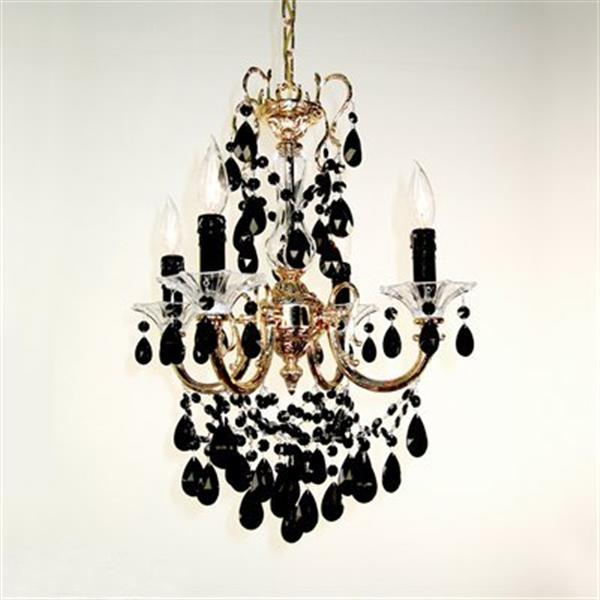Classic Lighting Via Veneto Collection 17-in x 25-in 24k Gold Plate Crystalique Black 4-Light Mini Chandelier