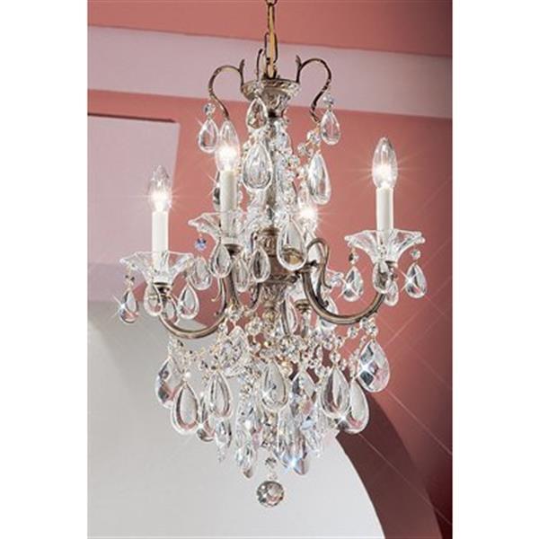 Classic Lighting Via Veneto Collection 17-in x 25-in Roman Bronze Crystalique 4-Light Mini Chandelier