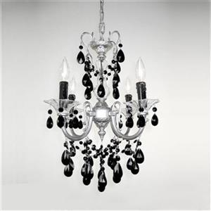 Classic Lighting Via Veneto Collection 17-in x 25-in Silverstone Crystalique Black 4-Light Mini Chandelier