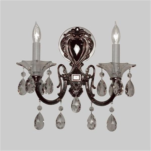 Classic Lighting Via Lombardi Ebony Pearl Crystalique Golden 2-Light Wall Sconce