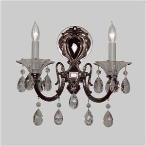 Classic Lighting Via Lombardi 24k Gold Plate Crystalique Black 2-Light Wall Sconce