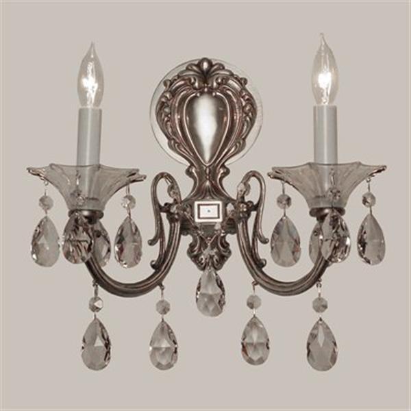 Classic Lighting Via Lombardi Millennium Silver Crystalique-Plus 2-Light Wall Sconce