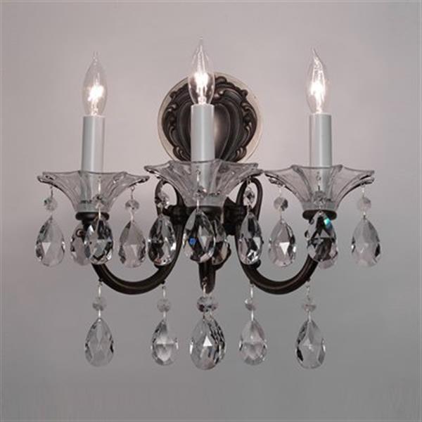Classic Lighting Via Lombardi 24k Gold Plate Crystalique Black 3-Light Wall Sconce