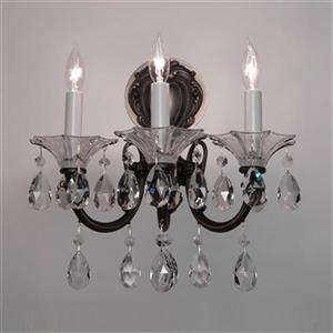 Classic Lighting Via Lombardi Millennium Silver Crystalique Golden 3-Light Wall Sconce