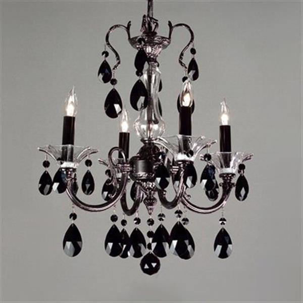 Classic Lighting Via Lombardi Collection 17-in x 19-in Silverstone Crystalique Black 4-Light Mini Chandelier