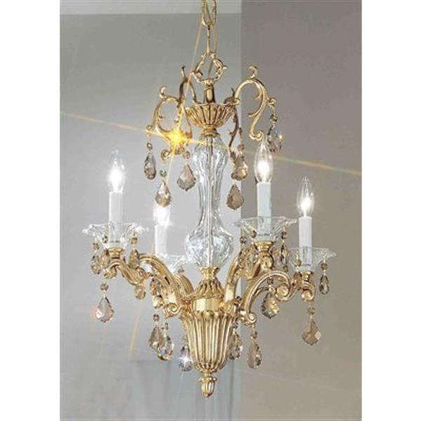 Classic Lighting Via Firenze Collection 18-in x 24-in Bronze w/Black Patina Crystalique Golden Teak 4-Light Mini Chandelier