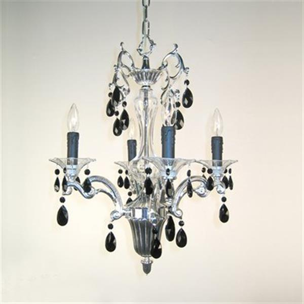 Classic Lighting Via Firenze Collection 18-in x 24-in Silver Plate Crystalique Black 4-Light Mini Chandelier