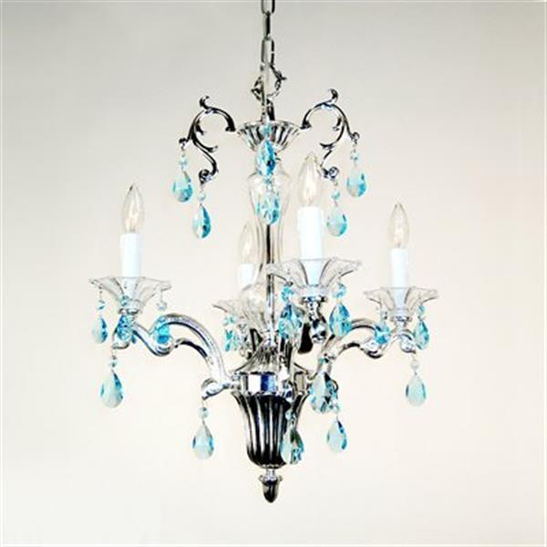 Classic Lighting Via Firenze Collection 18-in x 24-in Silver Plate Crystalique Sapphire 4-Light Mini Chandelier
