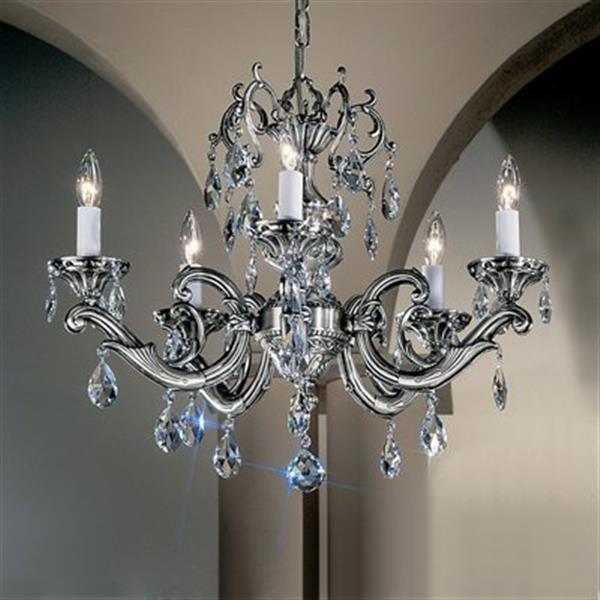 Classic Lighting Princeton II Collection 25-in x 18-in Millennium Silver Crystalique 5-Light Chandelier