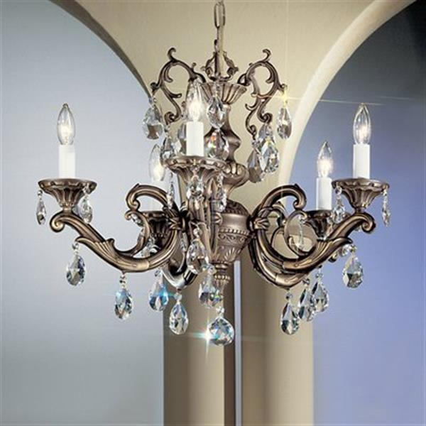 Classic Lighting Princeton II Collection 25-in x 18-in Roman Bronze Crystalique 5-Light Chandelier