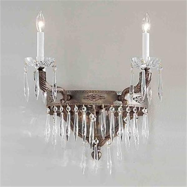 Classic Lighting Duchess Aged Bronze Antique Italian 2-Light Wall Sconce